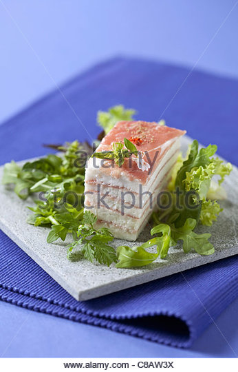 Cheese and raw ham Mille-feuille - Stock Image