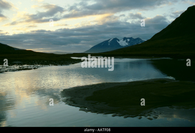 Arctic wilderness; Mount Akka seen from the Ruotesvagge valley, Sarek National Park, Lappland, Norrbottens Län, - Stock Image
