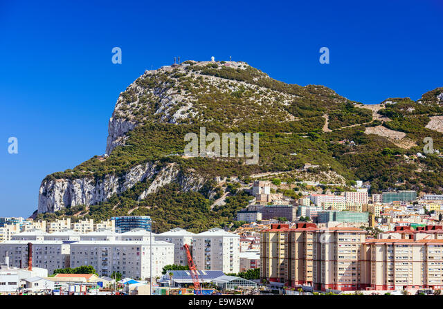 The British Overseas territory of the Rock of Gibraltar. - Stock Image