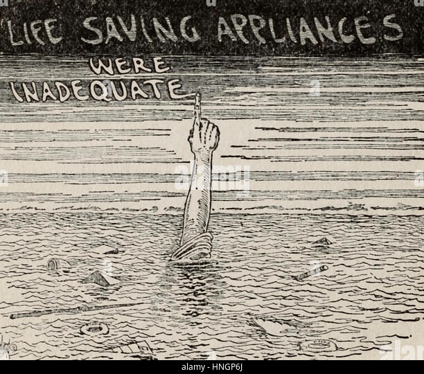 Life saving appliances were inadequate - Political cartoon after the Titanic Disaster - Stock-Bilder