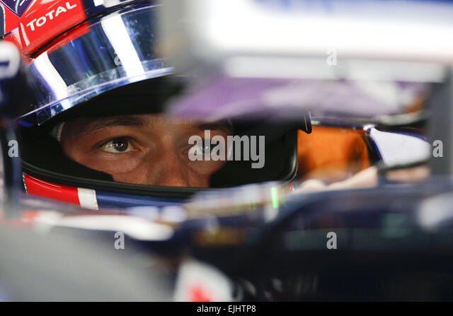 Sepang, Malaysia. 27th Mar, 2015. DANIIL KVYAT of Russia and Infiniti Red Bull Racing is seen in sitting in the - Stock-Bilder