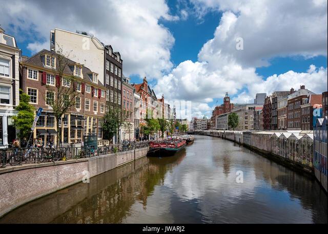 The Singelgracht at Bloomenmarkt, Amsterdam, North Holland, Netherlands - Stock Image