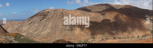 Mountain Panorama from  Degollada de Los Granadillos, Viewpoint,  Fuerteventura Canary Islands, Spain - Stock Image