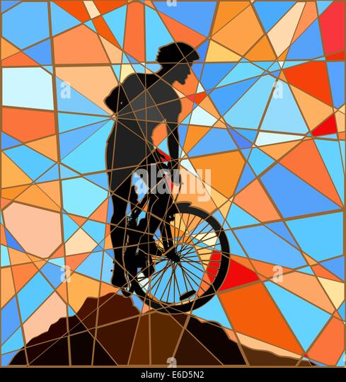 Editable vector colorful mosaic illustration of a mountain biker silhouette high on a ridge - Stock Image