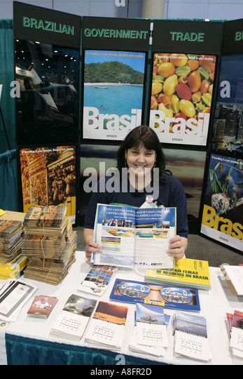 Miami Beach Florida Convention Center Fispal Latino Latin Food Fair exhibits product promotion Hispanic Brazil - Stock Image