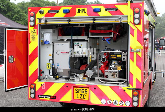 Beaulieu, Hampshire, UK - May 29 2017: Firefighting equipment in the back of a UK fire tender - Stock Image