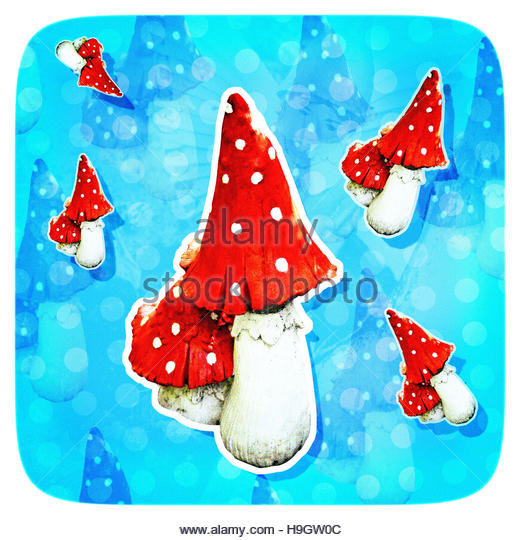 Magic Mushrooms kitsch pixie fairy magical background - Stock Image
