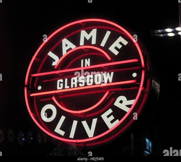 Jamie Oliver in Glasgow neon sign, Scotland, UK - Stock Image