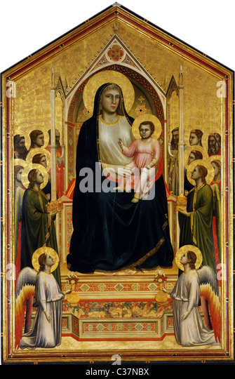 Madonna Enthroned, also known as the Ognissanti Madonna, is a painting by the Italian late medieval artist Giotto - Stock-Bilder