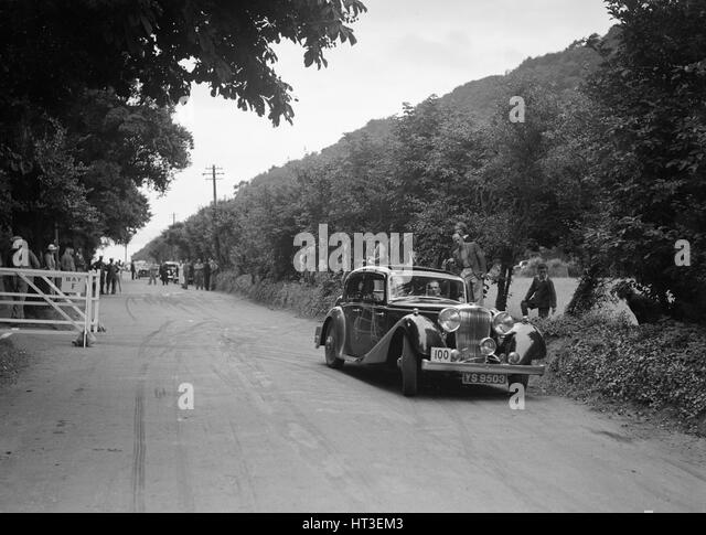SS Stanley's Jaguar SS competing at the MCC Torquay Rally, July 1937. Artist: Bill Brunell. - Stock-Bilder