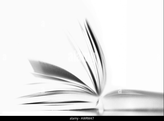 Open book, b&w. - Stock Image