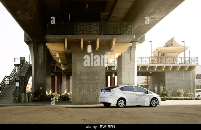 Transportation.  Toyota Prius rear 3/4 static beauty shot.  Location is Chinatown metro stop Los Angeles CA, USA - Stock Image
