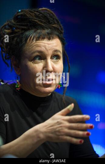 Olga Tokarczuk Polish novelist speaking on stage at Hay Festival 2017 Hay-on-Wye Powys Wales UK - Stock Image