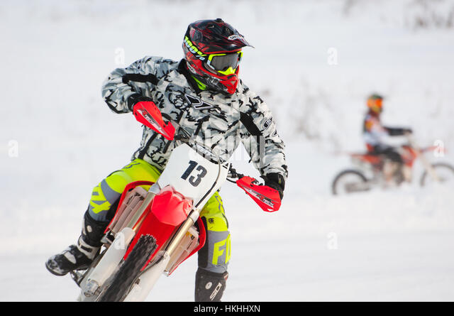 BREKHOVO, MOSCOW REGION, RUSSIA - JANUARY 21, 2017: A. Kalinin (13) during Winter open cup of DOSAAF MX Speedway - Stock Image