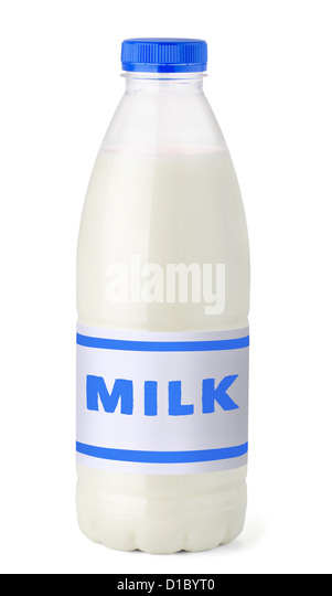 Plastic bottle of milk with label isolated on white - Stock Image