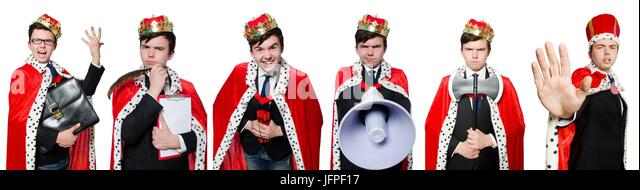 Businessman with crown isolated on white - Stock Image