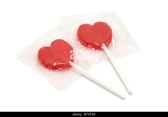 Pair of Heart Pops, Lollipops - Stock Image