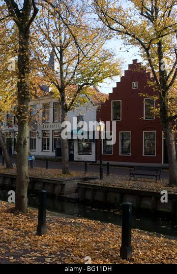 Houses along the canal, Edam, Netherlands, Europe - Stock Image