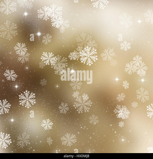 Golden Christmas background with snowflakes and stars - Stock Image