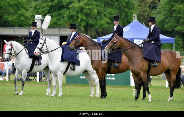 16.05.2014 Royal Windsor Horse Show inside the private grounds of Windsor Castle UK Ladies Show Horse (Side Saddle) - Stock Image