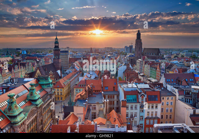 Wroclaw. Image of Wroclaw, Poland during summer sunset. - Stock Image