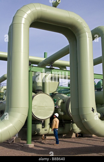 The workings of a geothermal power plant in Malta Idaho USA - Stock Image