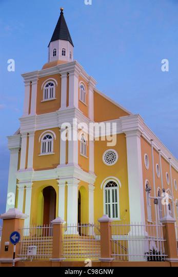 Curaçao Netherlands Antilles Dutch Willemstad Punda Hendrickplein Temple Emanuel 1864 synagogue religion Jewish - Stock Image