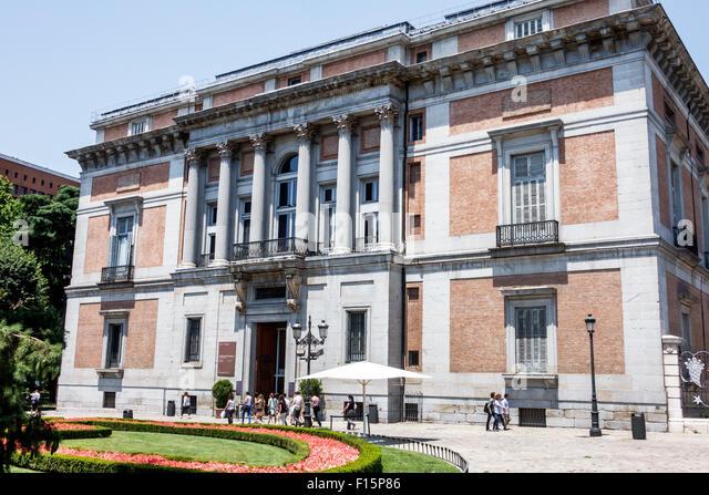 Spain Europe Spanish Madrid Centro Paseo del Prado Museo Nacional del Prado outside exterior gallery art museum - Stock Image