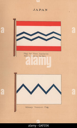JAPAN FLAGS. Flag for Fleet Auxiliaries. Military Transport Flag, print 1916 - Stock Image