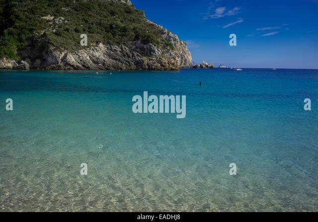 Greek beach in Corfu,Paleokastritsa - Stock Image