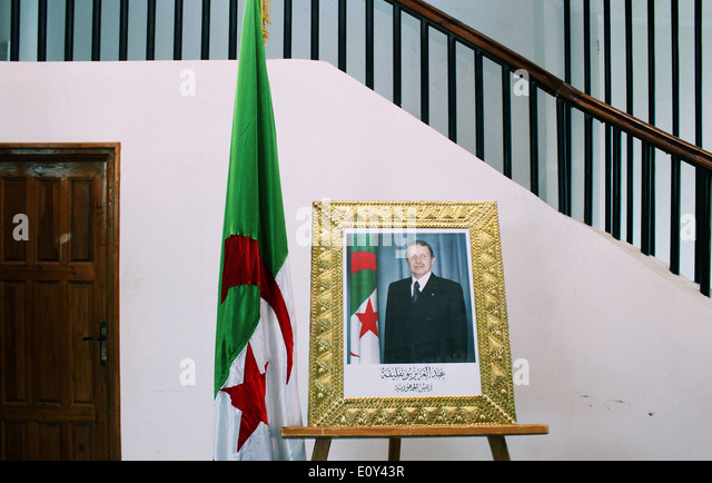 Portrait of the Algerian President in M'sila, Algeria. - Stock Image