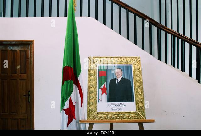 Portrait of the Algerian President in M'sila, Algeria. - Stock Image