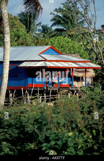 Nicaragua Miskito Coast Sandy Bay Indian village - Stock Image