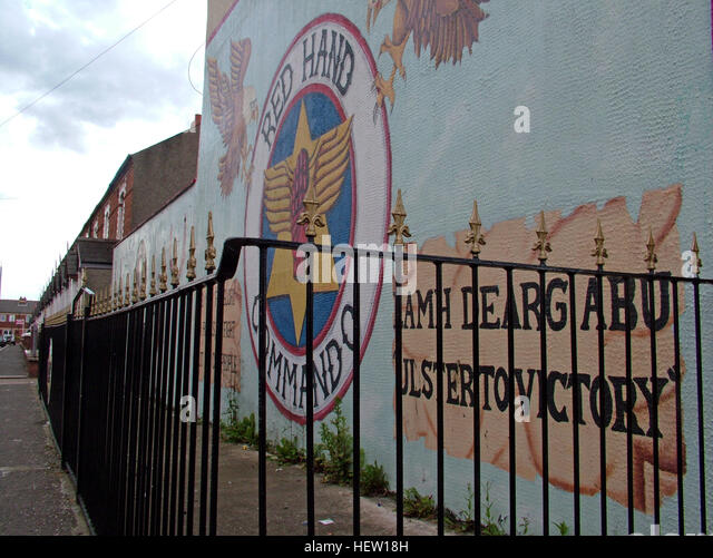 Shankill Road Mural -Red Hand Commando, West Belfast, Northern Ireland, UK - Stock Image