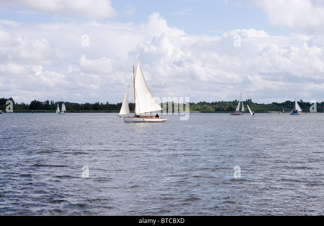 Sailing and wind surfing. Barton Broad. Norfolk. - Stock Image