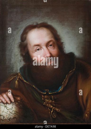 Portrait of Christopher Columbus. Artist: Nogari, Giuseppe (1699-1763) - Stock-Bilder