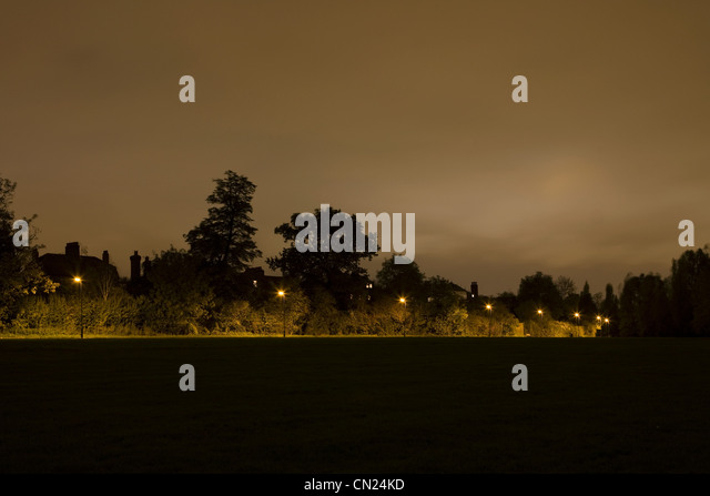 Street lights and path at night - Stock Image