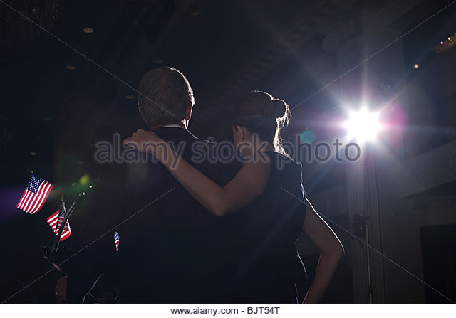 A politcian and his wife on at a political rally - Stock Image