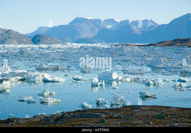 Ice blocks in Sermilik Fjord, East Greenland - Stock Image