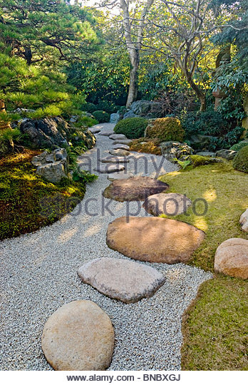 Rock Path in Japanese Garden Shimane Prefecture, Japan. - Stock-Bilder