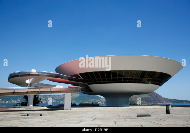 Museu do Arte Contemporanea (Museum of Contemporary Art), architect Oscar Niemeyer, Niteroi, Rio de Janeiro, Brazil - Stock-Bilder