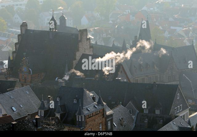 Rooftops of medieval buildings in Marburg, including Town Hall and Old University, Marburg, Hesse, Germany - Stock-Bilder