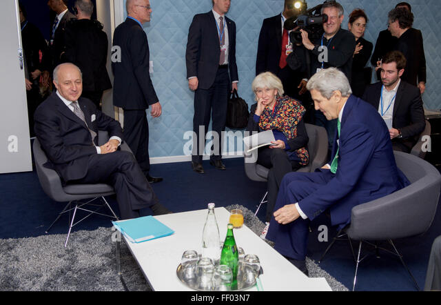 Secretary Kerry Meets with French Foreign Minister Fabius and Climate Change Advisor Tubiana - Stock Image