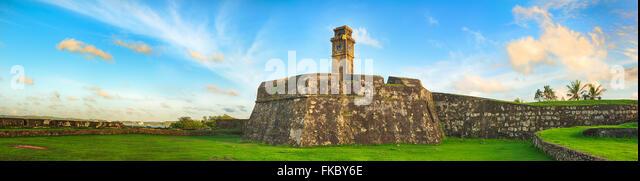 Anthonisz Memorial Clock Tower in Galle, Sri Lanka. Panorama - Stock Image