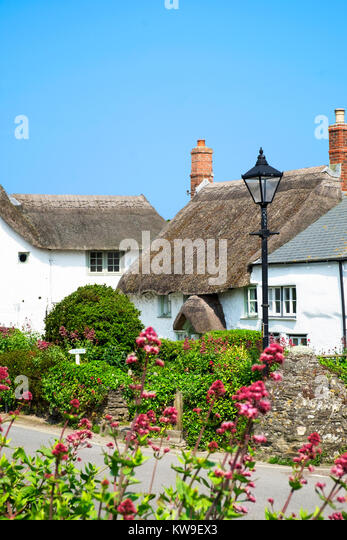 traditional thatched cottages in the village of crantock in cornwall, england, britain, uk. - Stock Image