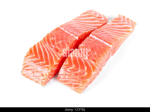 two slices trout fillet isolated on white background - Stock Image