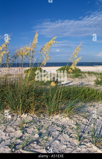 Beach beaches woman sea oats - Stock Image
