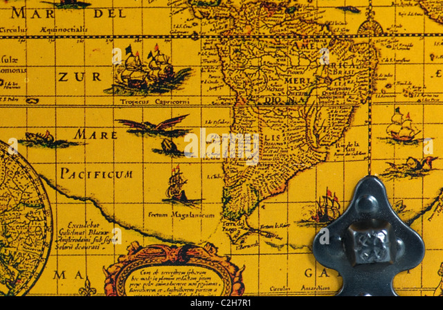 Very old world map - Stock Image