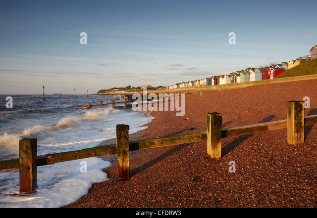 The beach at Felixstowe on the Suffolk Coast on an August morning, Felixstowe, Suffolk, England, United Kingdom, - Stock Image