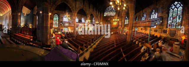Interior Panorama of St Elphins Church Warrington, North West England, Cheshire, UK - Stock Image
